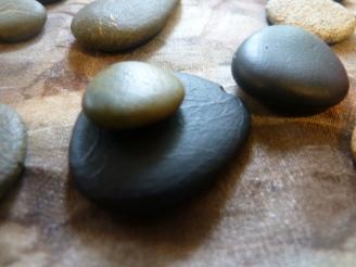 stones on silk